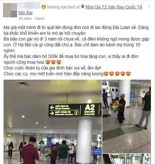 Rơi nước mắt với hình ảnh mẹ nghèo mua bó hoa 500 nghìn chờ tặng con ở sân bay - Ảnh 1