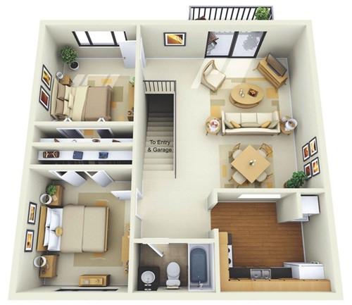 Những mẫu nhà 2 phòng ngủ khiến người xem mê mẩn muốn sở hữu ngay - Ảnh 3