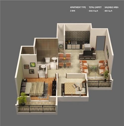 Những mẫu nhà 2 phòng ngủ khiến người xem mê mẩn muốn sở hữu ngay - Ảnh 9