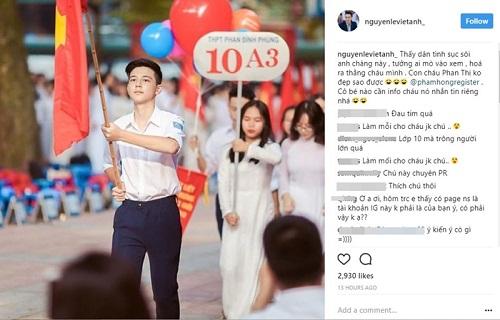 """Dân mạng náo loạn khi """"Phan Hải"""" Việt Anh thừa nhận """"hot boy cầm cờ"""" trong lễ khai giảng là cháu mình - Ảnh 3"""