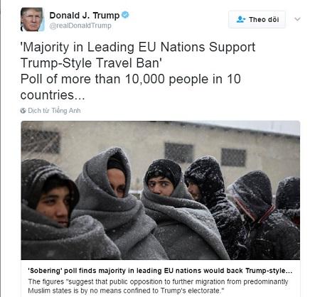 """Đưa tin về người ủng hộ lệnh cấm nhập cư trên Twitter, ông Trump bị tố """"lừa dối"""" - Ảnh 1"""
