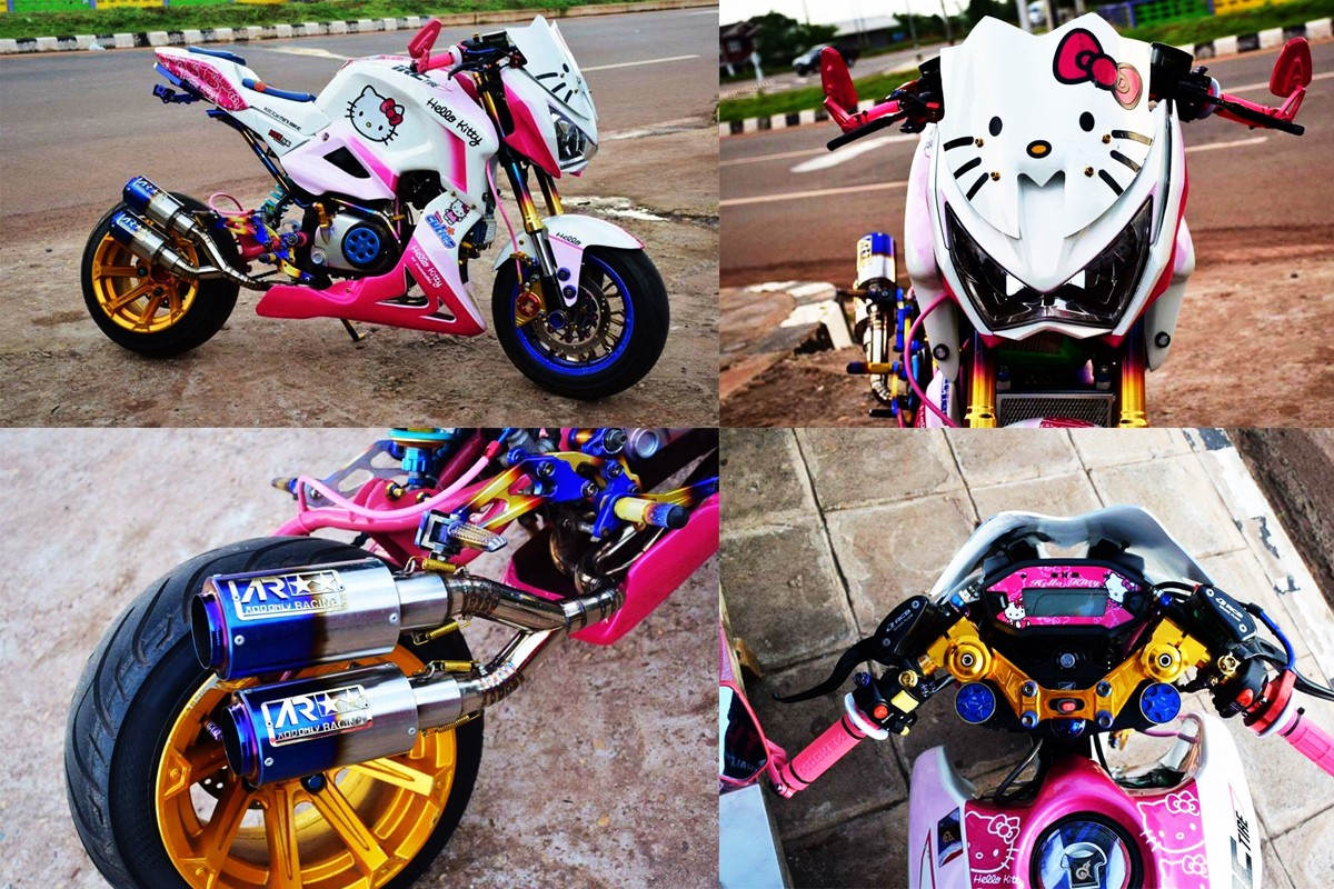 """Cận cảnh chiếc mô tô """"hầm hố"""" được độ hình Hello Kitty cá tính - Ảnh 2"""