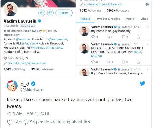 Tài khoản Twitter của giám đốc YouTube bất ngờ bị hack sau vụ xả súng - Ảnh 1
