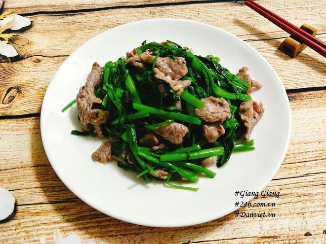Cách làm thịt bò xào rau muống xanh giòn, thơm ngon  - Ảnh 6