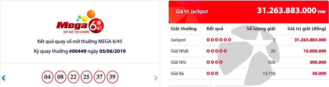 """Kết quả xổ số Vietlott hôm nay 5/6/2019: Jackpot hơn 31 tỷ đồng bị """"bỏ rơi"""" - Ảnh 1"""