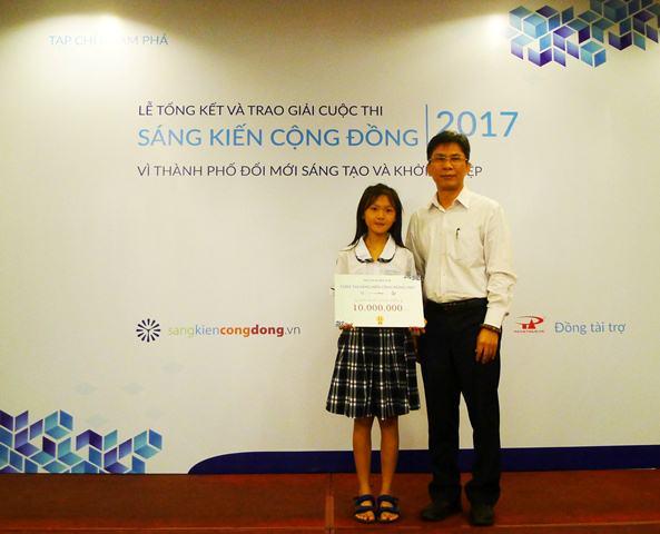 TP.HCM: Nhóm học sinh lớp 5 đạt giải nhất cuộc thi Sáng kiến cộng đồng 2017 - Ảnh 1