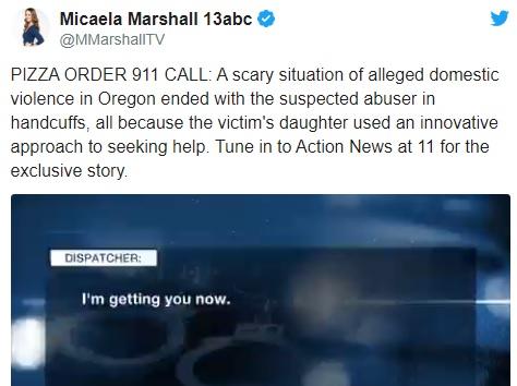 Mỹ: Cô gái được cứu sống nhờ nhanh trí gọi 911 đặt pizza - Ảnh 1