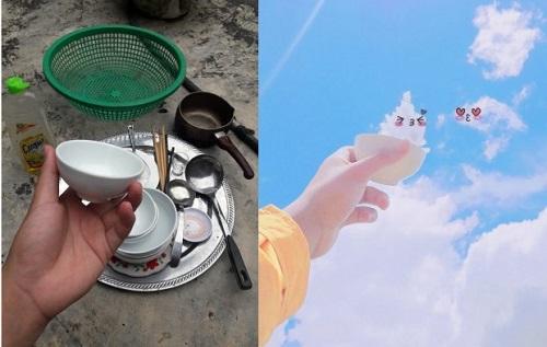 Thanh niên sáng tạo bộ ảnh mây trời siêu dễ thương trong khi rửa bát - Ảnh 2
