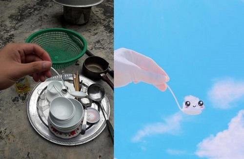 Thanh niên sáng tạo bộ ảnh mây trời siêu dễ thương trong khi rửa bát - Ảnh 1