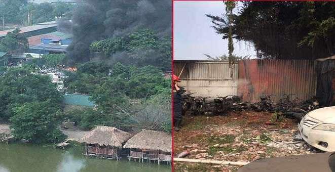 Hà Nội: Bãi giữ xe vi phạm bất ngờ bốc cháy, hàng chục xe máy bị thiêu rụi - Ảnh 1
