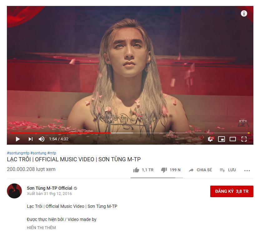 """MV """"Lạc trôi"""" của Sơn Tùng M-TP chính thức cán mốc 200 triệu lượt xem - Ảnh 1"""
