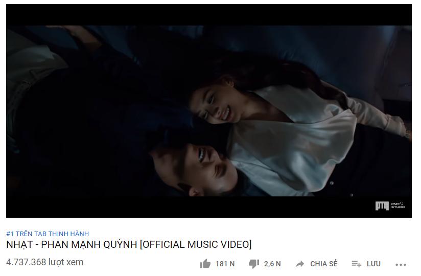 """MV """"Nhạt"""" của Phan Mạnh Quỳnh bất ngờ lọt top 1 thịnh hành YouTube Việt Nam - Ảnh 1"""