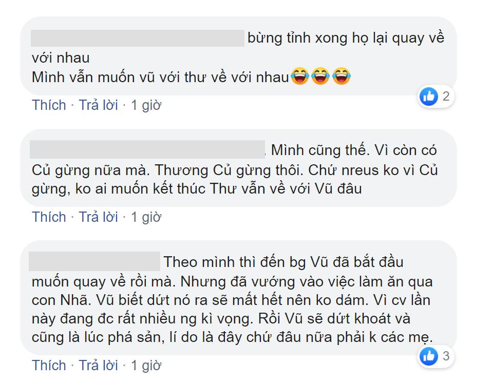 Cuộc tranh cãi không hồi kết về số phận cặp đôi Thư - Vũ của fan phim Về nhà đi con  - Ảnh 4