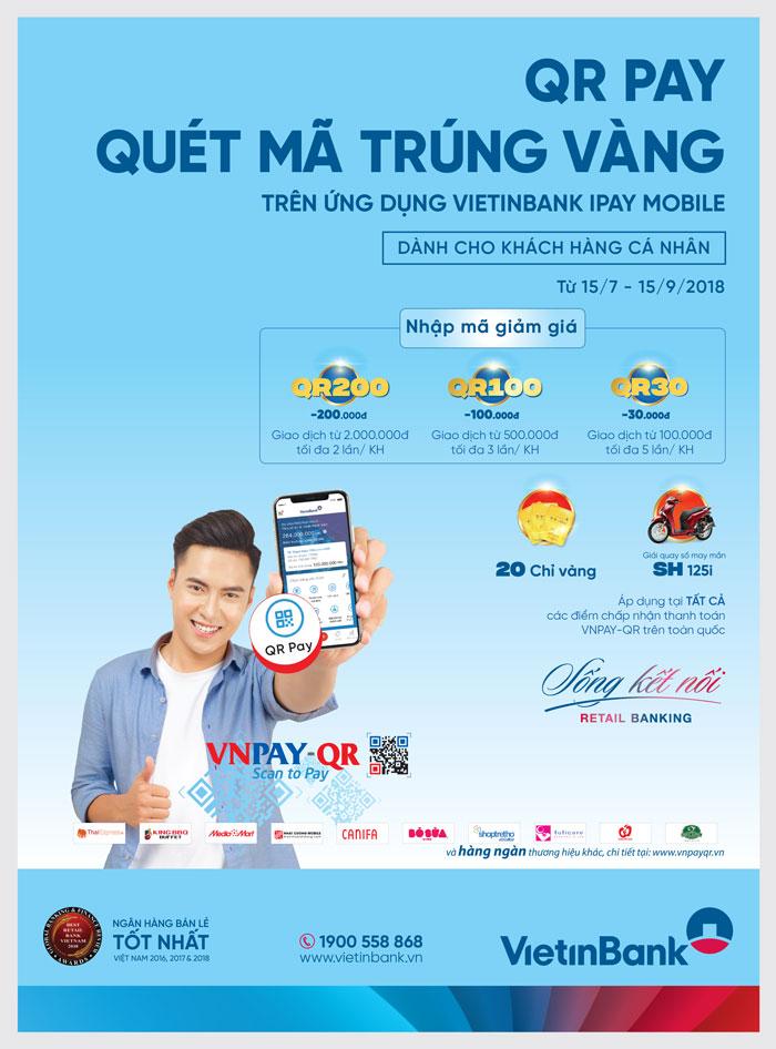"""Cùng VietinBank iPay Mobile """"QRPay, quét mã trúng vàng"""" - Ảnh 1"""