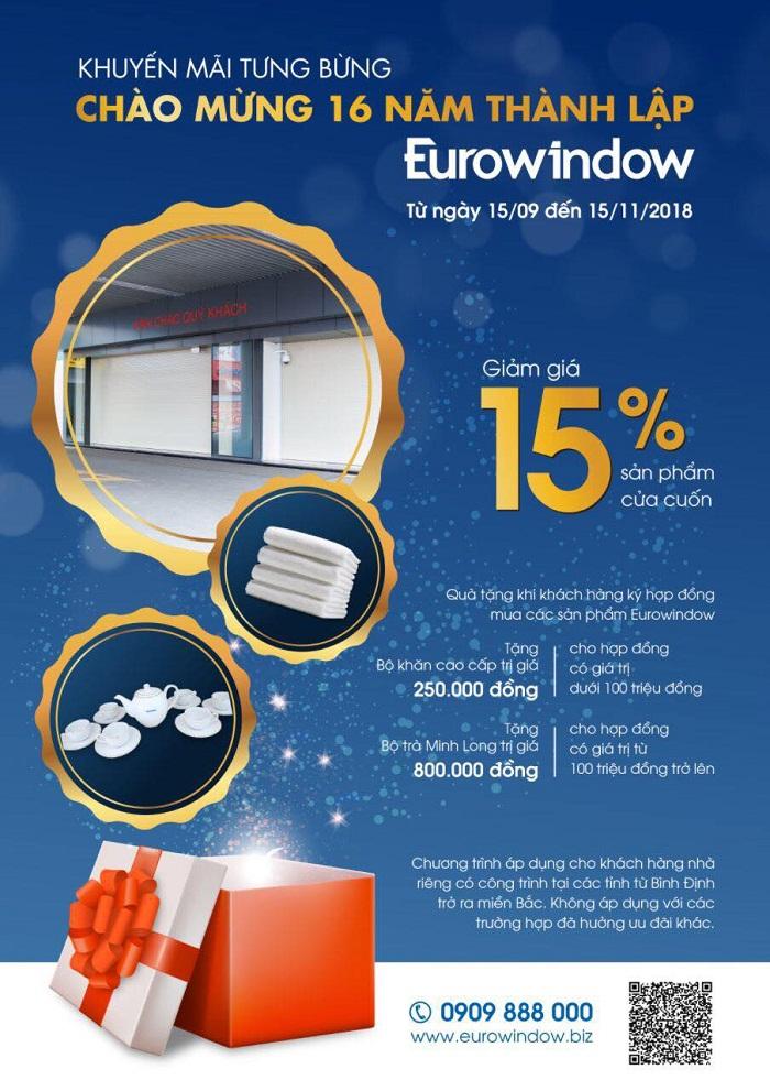 Tưng bừng khuyến mãi cửa cuốn Eurowindow nhân kỷ niệm 16 năm thành lập  - Ảnh 1