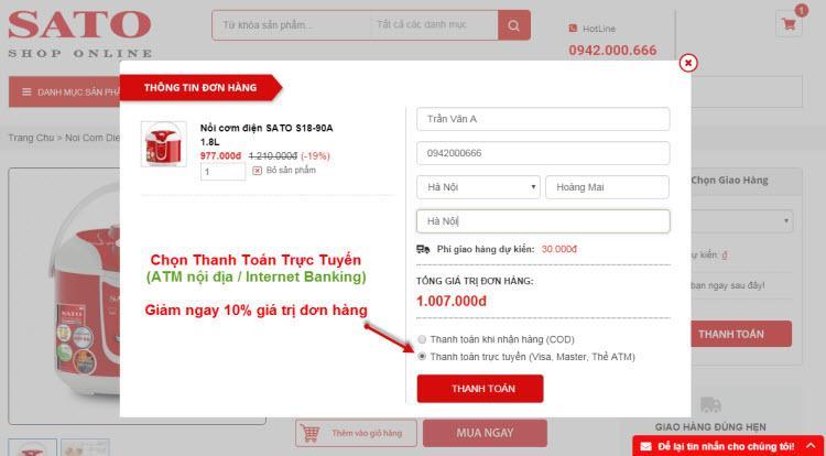 Giảm ngay 10% khi mua hàng và thanh toán online tại giadungsato.com  - Ảnh 2