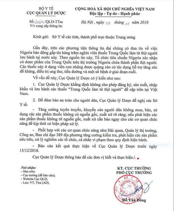 """Bộ y tế khẳng định không nhập thuốc """"làm từ thịt người"""" về Việt Nam - Ảnh 1"""