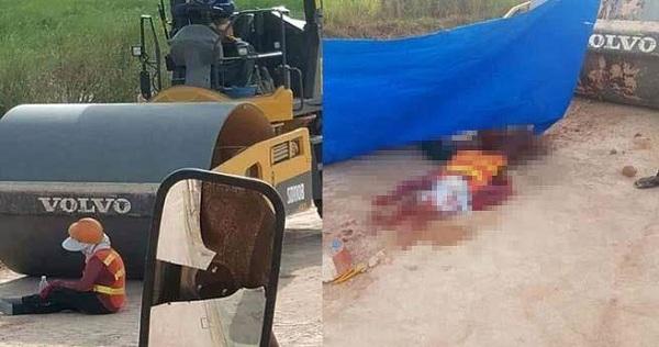 Ngồi nghỉ ngơi trước xe lu, nữ công nhân 38 tuổi bị nghiền nát người - Ảnh 1