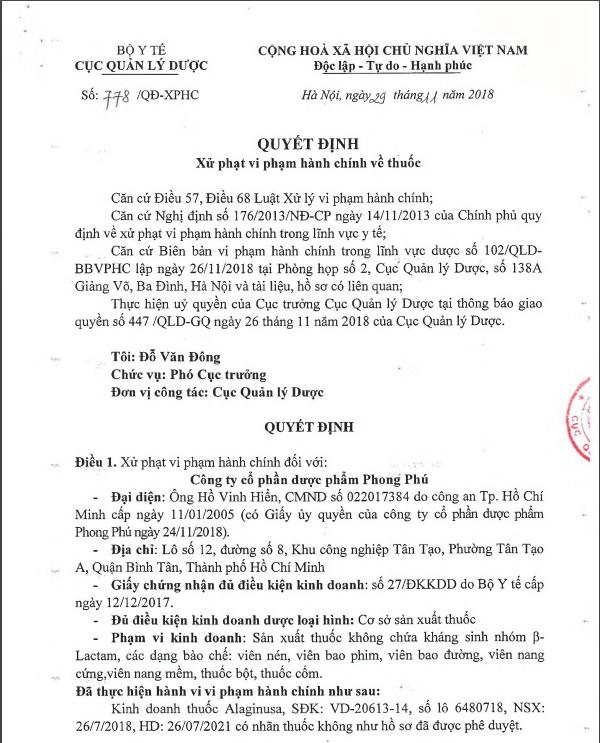 Xử phạt Dược phẩm Phong Phú do kinh doanh thuốc có nhãn không như hồ sơ được duyệt - Ảnh 1