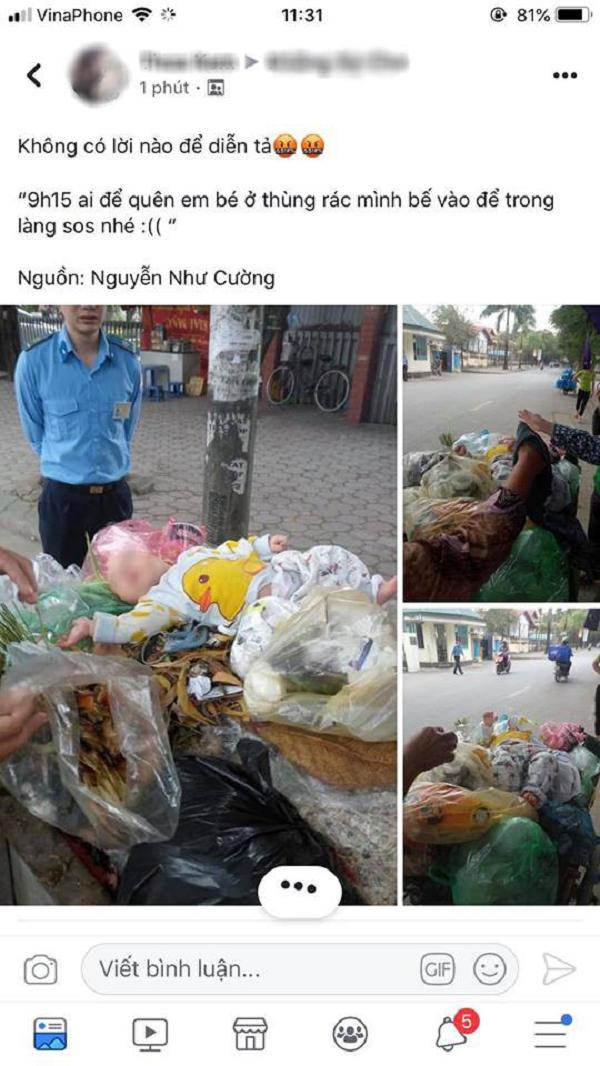 """Xót xa bé trai kháu khỉnh bị người thân """"bỏ quên"""" trên thùng rác giữa phố Hà Nội - Ảnh 1"""