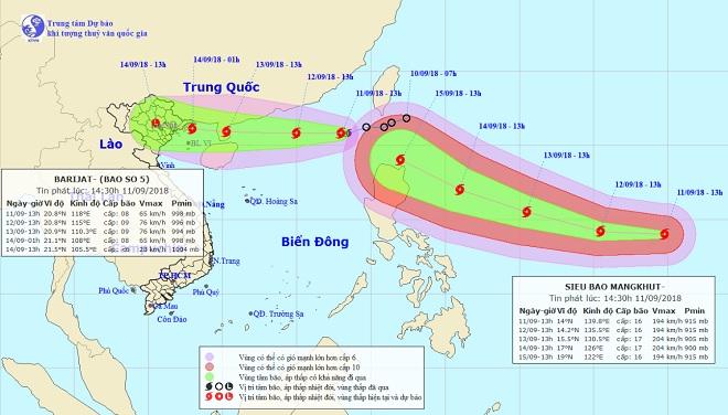 Siêu bão Mangkhut nối đuôi bão số 5 vào Biển Đông: Dự báo mưa lớn, lũ lụt - Ảnh 1