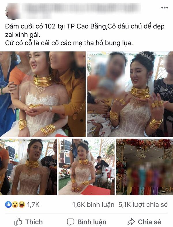 """Hé lộ danh tính cô dâu đeo vàng """"trĩu cổ"""" trong đám cưới gây xôn xao ở Cao Bằng - Ảnh 1"""