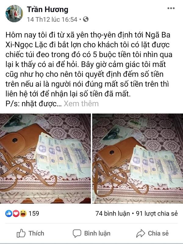 Cảm kích người phụ nữ đăng tin tìm chủ nhân đánh rơi chiếc túi đựng gần 100 triệu đồng - Ảnh 1