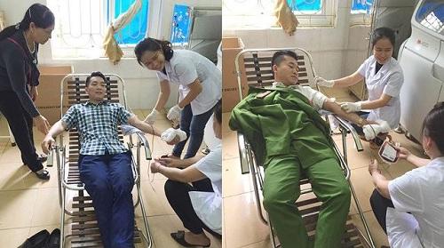 Hai chiến sĩ công an hiến máu cứu thai phụ qua cơn nguy kịch - Ảnh 1