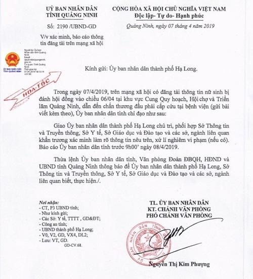 UBND Quảng Ninh chỉ đạo khẩn vụ nữ sinh cấp 3 bị đánh hội đồng - Ảnh 1
