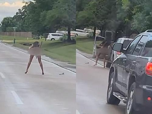 Sau va chạm giao thông, người phụ nữ nổi giận lột đồ rồi làm điều kỳ quặc trên đường - Ảnh 1