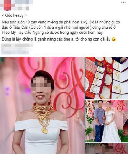 Xuất hiện thêm hình ảnh cô dâu vàng đeo trĩu cổ trong ngày cưới khiến dân mạng trầm trồ - Ảnh 1