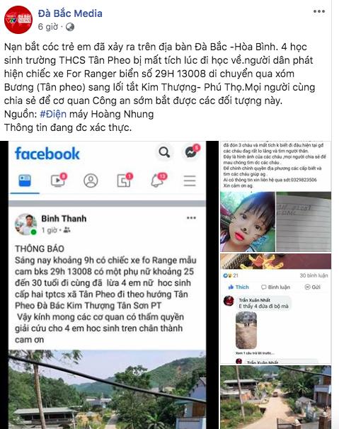 Sự thật về tin đồn 4 nữ sinh ở Hòa Bình bị bắt cóc trên ô tô biển 29  - Ảnh 1