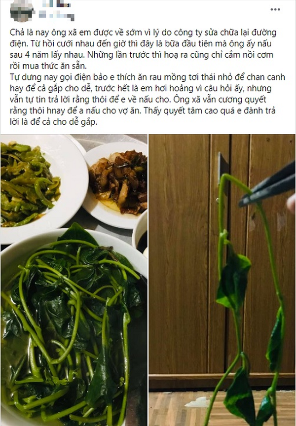 """Sau 4 năm kết hôn, vợ hớn hở khi lần đầu tiên chồng vào bếp, nếm thử món canh mồng tơi thì """"tím mặt"""" - Ảnh 1"""