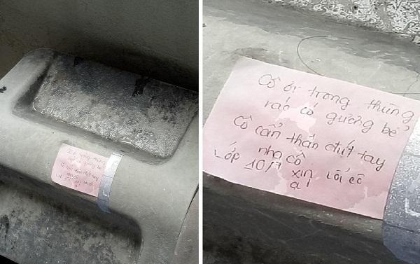 Lỡ tay làm vỡ thủy tinh, các bạn học sinh để lại lời nhắn đáng yêu trên nắp thùng rác - Ảnh 1