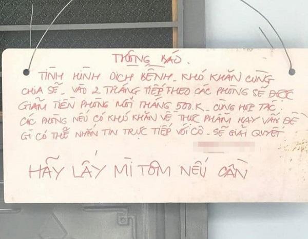 Giữa đại dịch gặp chủ trọ có tâm, giảm tiền thuê phòng còn để lại lời nhắn hết sức dễ thương - Ảnh 1