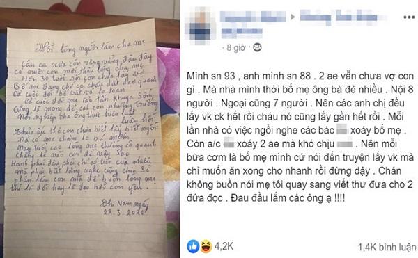 """2 anh em không chịu lấy vợ, bố mẹ viết tâm thư thúc giục, đọc xong ai cũng """"nghèn nghẹn"""" - Ảnh 1"""