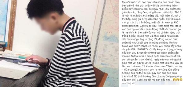 """Bà mẹ khiến mạng xã hội dậy sóng với các yêu cầu tuyển vợ gây """"sốc"""" cho con trai - Ảnh 1"""