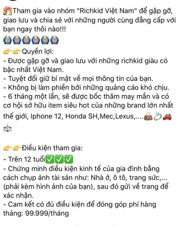 """Hội rich kid Việt đăng bài tuyển thành viên, xem điều kiện ai cũng phải """"sốc"""" - Ảnh 3"""