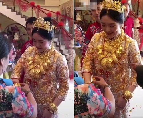 Cô dâu trĩu cổ cả yến vàng trong ngày cưới gây xôn xao ở Trung Quốc - Ảnh 1