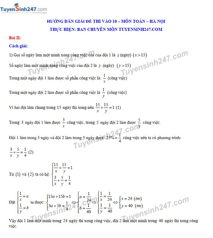 Đáp án, đề thi môn Toán vào lớp 10 THPT tại Hà Nội chuẩn và chính xác nhất - Ảnh 3