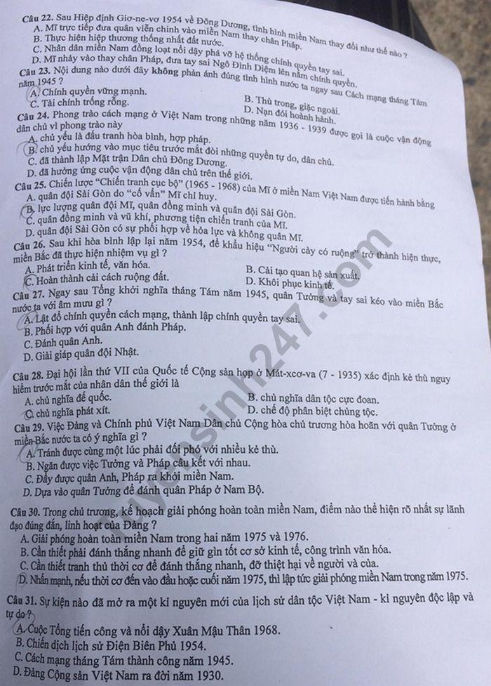 Đáp án, đề thi môn Lịch Sử vào lớp 10 THPT tại Hà Nội chuẩn và chính xác nhất - Ảnh 3