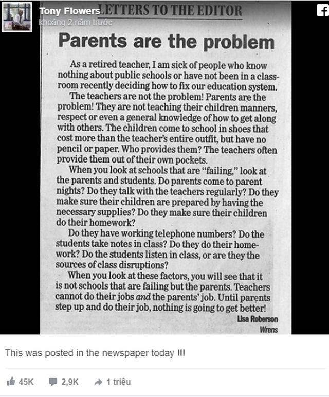"""Xôn xao bức thư của giáo viên Mỹ khẳng định """"phụ huynh là nguyên nhân của nền giáo dục thất bại"""" - Ảnh 1"""
