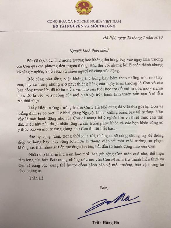 """Bộ trưởng Tài nguyên và Môi trường viết thư khen học sinh đề xuất """"khai giảng không bóng bay"""" - Ảnh 1"""