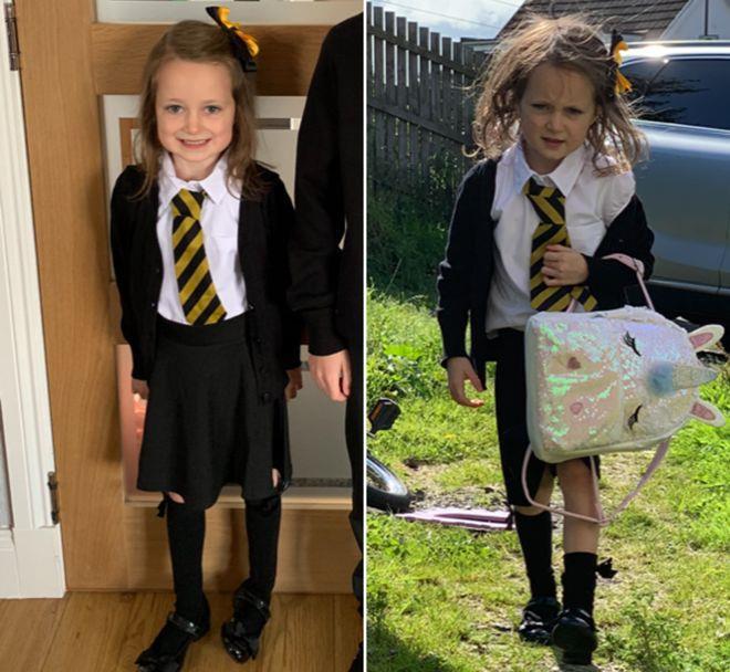 """Bé gái 5 tuổi bất ngờ nổi rần rần trên mạng xã hội nhờ bức ảnh """"như đi đánh trận"""" từ trường về - Ảnh 1"""