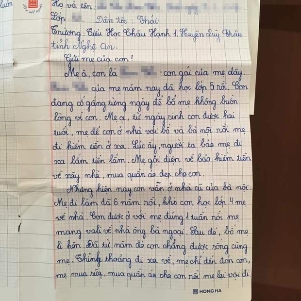 """Bật khóc trước bức thư bé gái lớp 5 gửi mẹ đi lấy chồng: """"Lần tới mẹ đi họp phụ huynh cho con nhé!"""" - Ảnh 1"""
