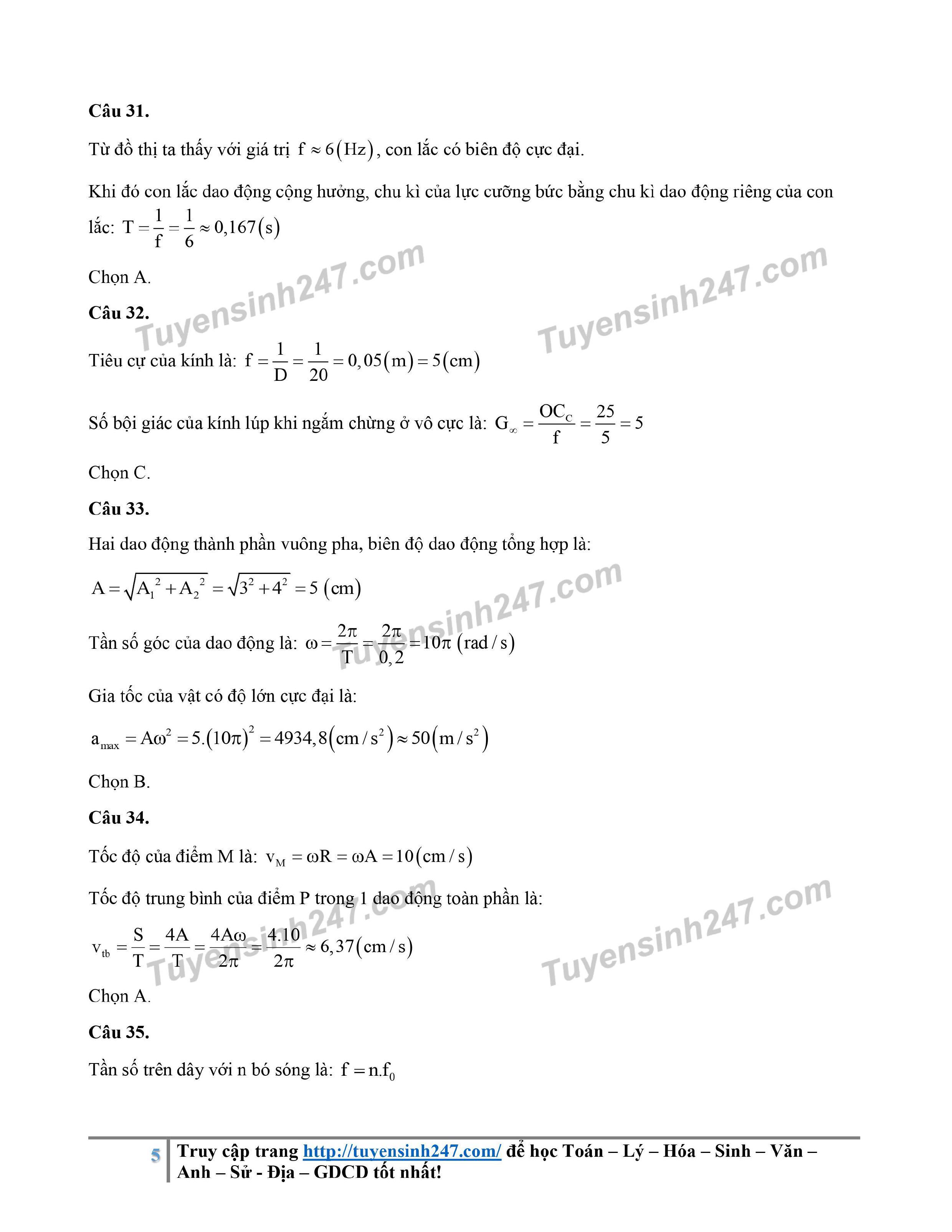 Đáp án gợi ý đề thi môn Vật lý kỳ thi tốt nghiệp THPT 2020 - Ảnh 5