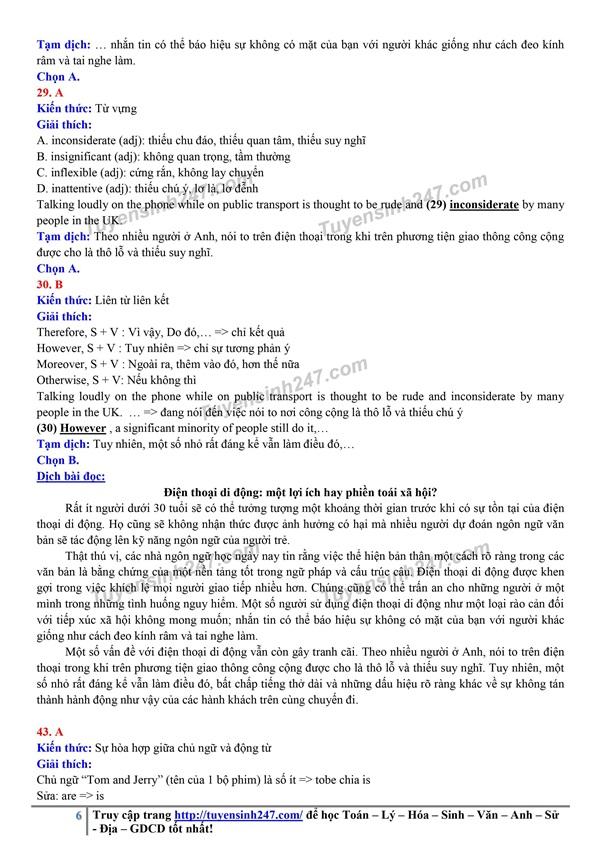 Đáp án gợi ý đề thi môn tiếng Anh kỳ thi tốt nghiệp THPT 2020 - Ảnh 6