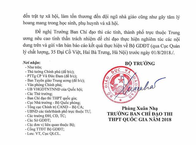 Bộ GD&ĐT yêu cầu 63 tỉnh thành rà soát điểm thi THPT Quốc gia - Ảnh 2
