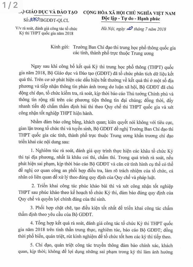 Bộ GD&ĐT yêu cầu 63 tỉnh thành rà soát điểm thi THPT Quốc gia - Ảnh 1