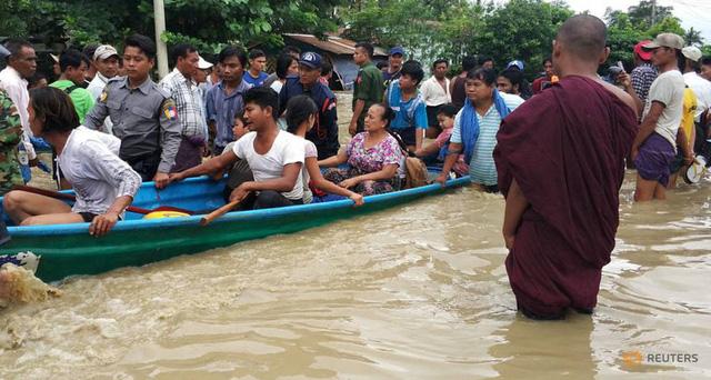 Hiện trường vỡ đập tại Myanmar khiến hơn 100 ngôi làng ngập trong nước lũ - Ảnh 5